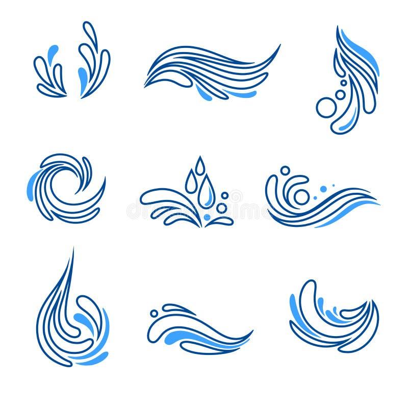 Wässern Sie Tropfen und Spritzen eco Ikonenvektorsatz lizenzfreie abbildung