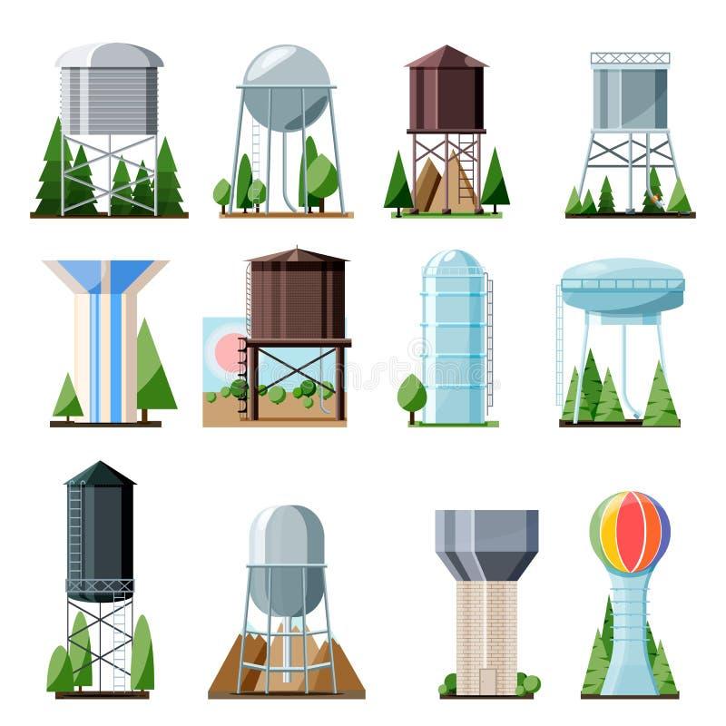 Wässriges Ressourcenreservoir der Wasserturmvektortanklagerung und industrieller hoher Metallbaubehälterwasserturm stock abbildung