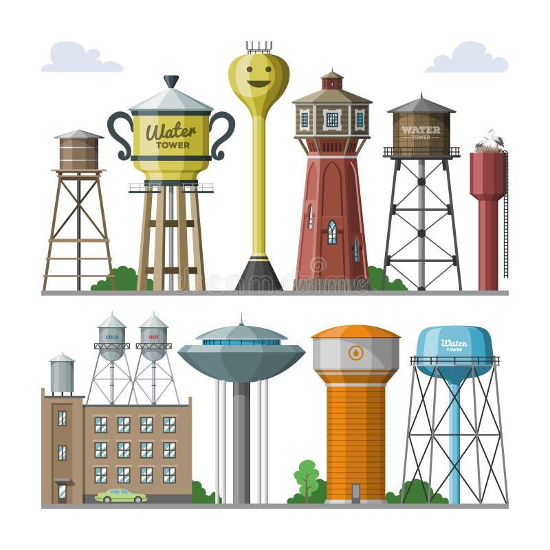 Wässriges Ressourcenreservoir der Wasserturmvektortanklagerung und industrieller hoher Metallbaubehälterwasserturm herein vektor abbildung