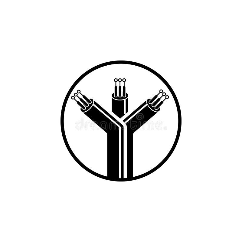 włókno światłowodowe kabli ikona Element połączenie z internetem ikona Premii ilości graficznego projekta ikona znaki i symbole i ilustracji