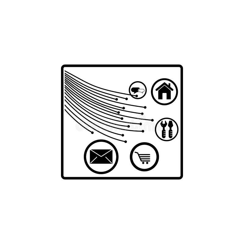 włókno światłowodowe użytkowników ikona Element połączenie z internetem ikona Premii ilości graficznego projekta ikona znaki i sy ilustracja wektor