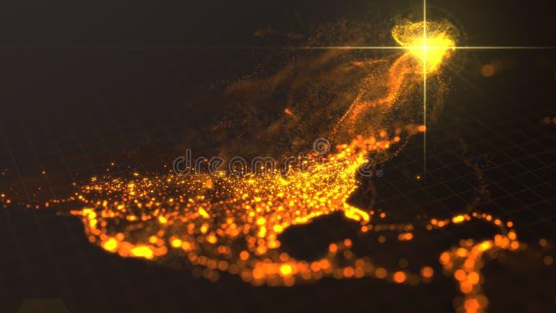Władza America, energetyczny wytwarzać od zlanych stanów ciemna mapa z iluminującymi miastami ilustracja 3 d royalty ilustracja
