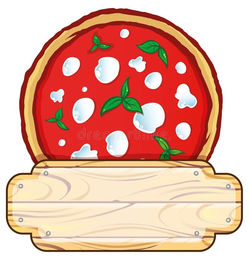 Włoski pizza logo z pustą drewnianą przestrzenią ilustracja wektor