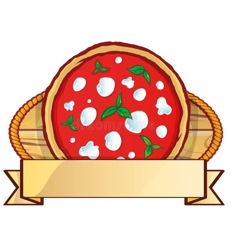 Włoski pizza logo z pustą etykietka sztandaru przestrzenią royalty ilustracja