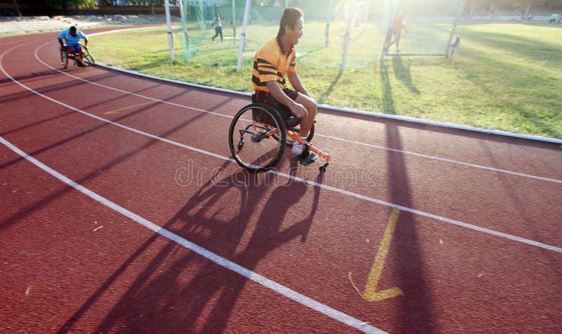 Wózek inwalidzki atlety fotografia royalty free