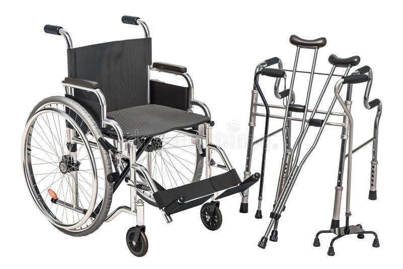 Wózek inwalidzki, chodzący ramę i szczudła, 3D rendering ilustracji