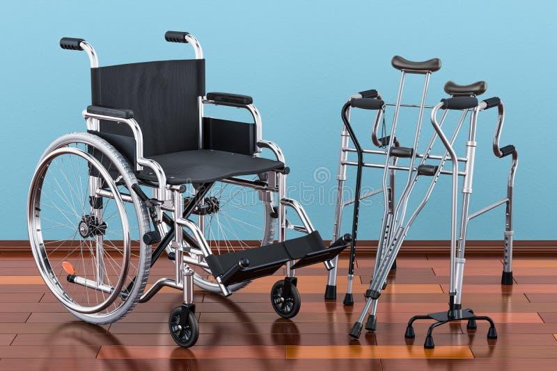 Wózek inwalidzki, chodzący ramę i szczudła na drewnianej podłoga w th royalty ilustracja