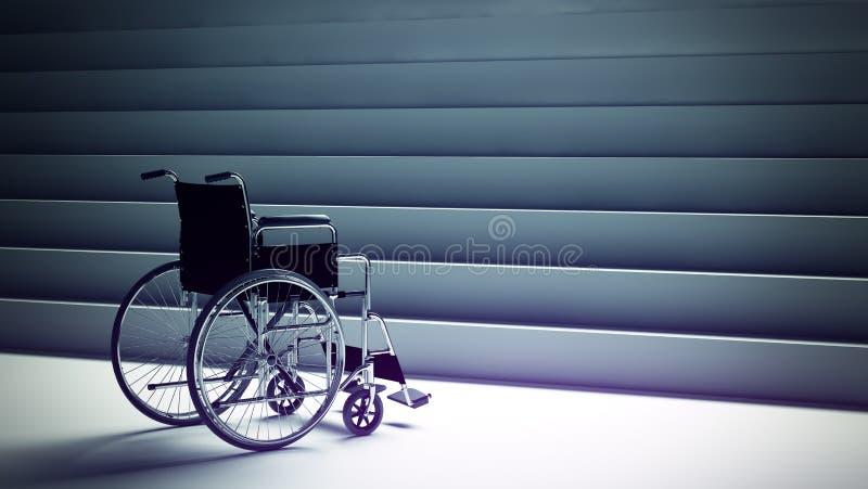 Wózek inwalidzki i schodki ilustracja wektor