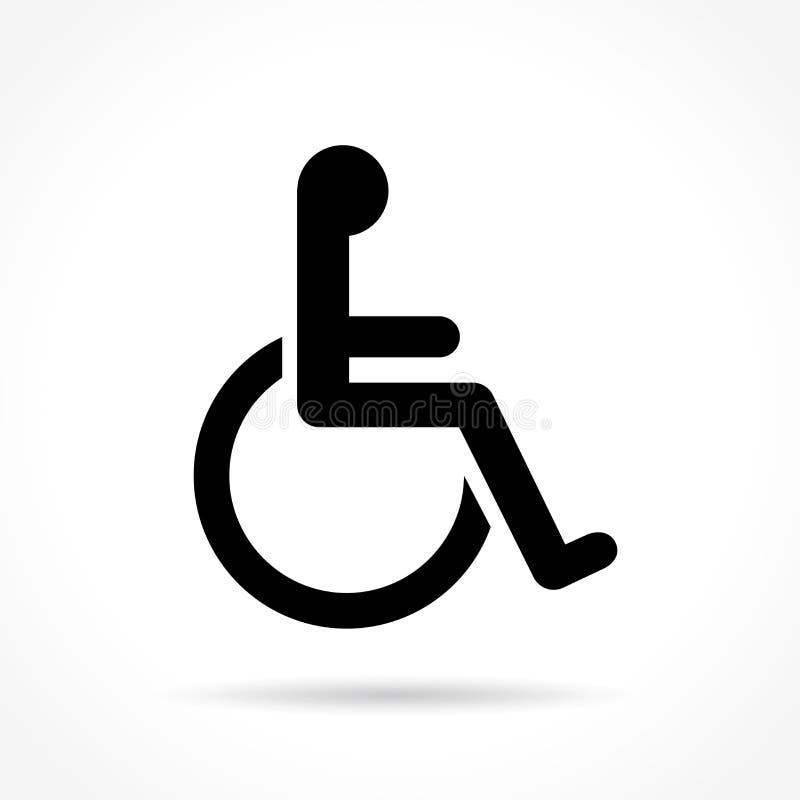 Wózek inwalidzki ikona na białym tle ilustracja wektor