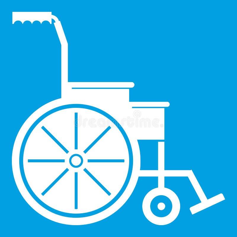 Wózek inwalidzki ikony biel ilustracji