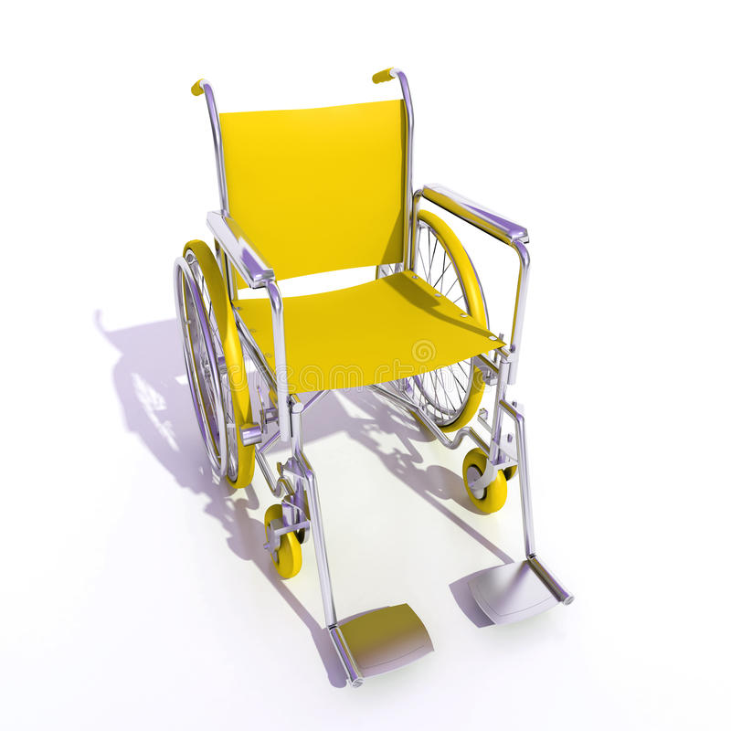 wózek inwalidzki kolor żółty ilustracji