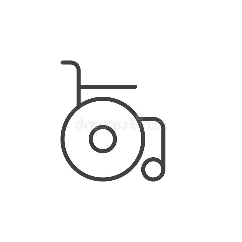 Wózek inwalidzki kreskowa ikona, konturu wektoru znak, liniowy stylowy piktogram odizolowywający na bielu royalty ilustracja