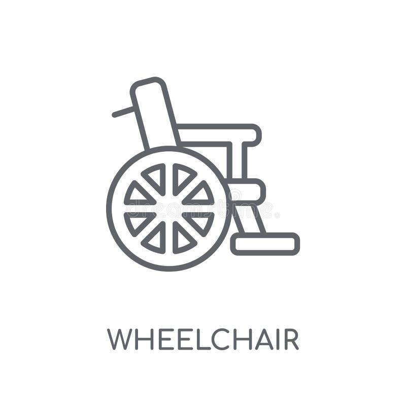 Wózek inwalidzki liniowa ikona Nowożytny konturu wózka inwalidzkiego logo pojęcie o ilustracja wektor