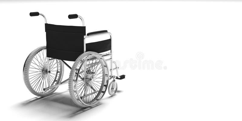 Wózek inwalidzki odizolowywający na białym tle, kopii przestrzeń, widok od behind ilustracja 3 d royalty ilustracja