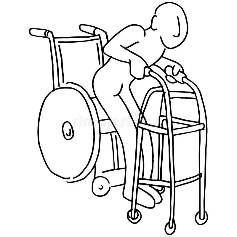 Wózek inwalidzki piechur ilustracja wektor