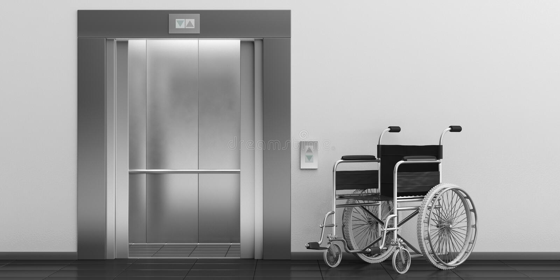 Wózek inwalidzki pusty i winda z otwarte drzwi ilustracja 3 d royalty ilustracja