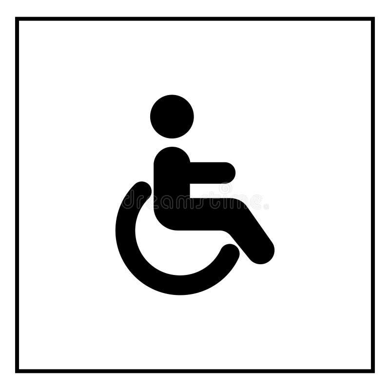 Wózek inwalidzki szyldowa wektorowa ikona Niepełnosprawna osoby ikona Istota ludzka na wózka inwalidzkiego znaku Cierpliwy transp royalty ilustracja