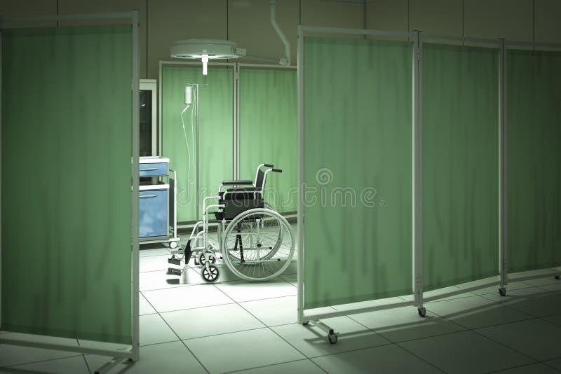 Wózek inwalidzki w sala szpitalnej royalty ilustracja