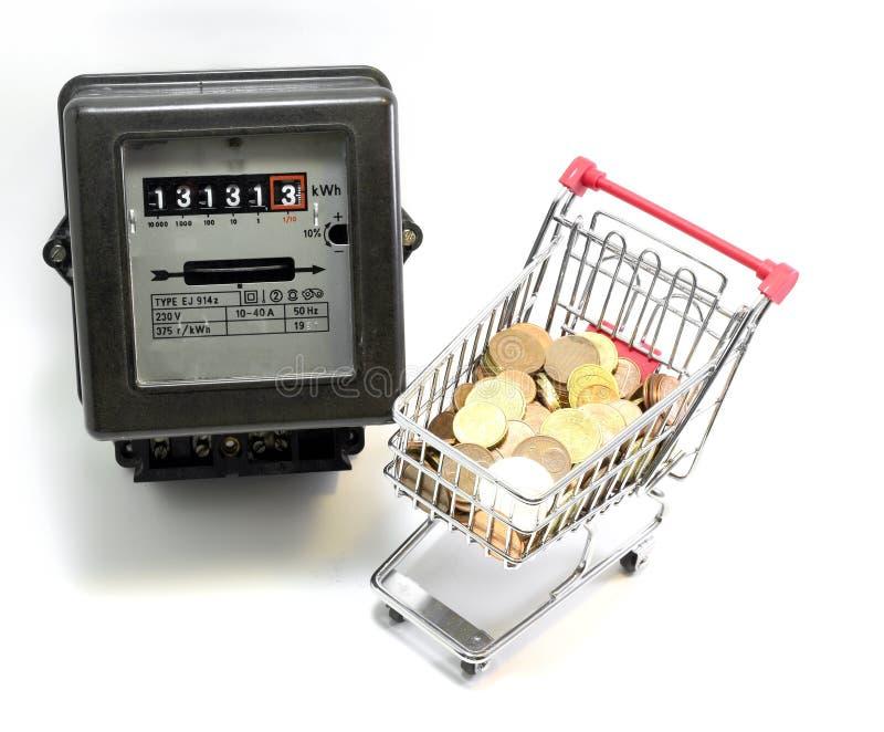 Wózek na zakupy Europejski pieniądze płacić elektryczność rachunki zdjęcie royalty free