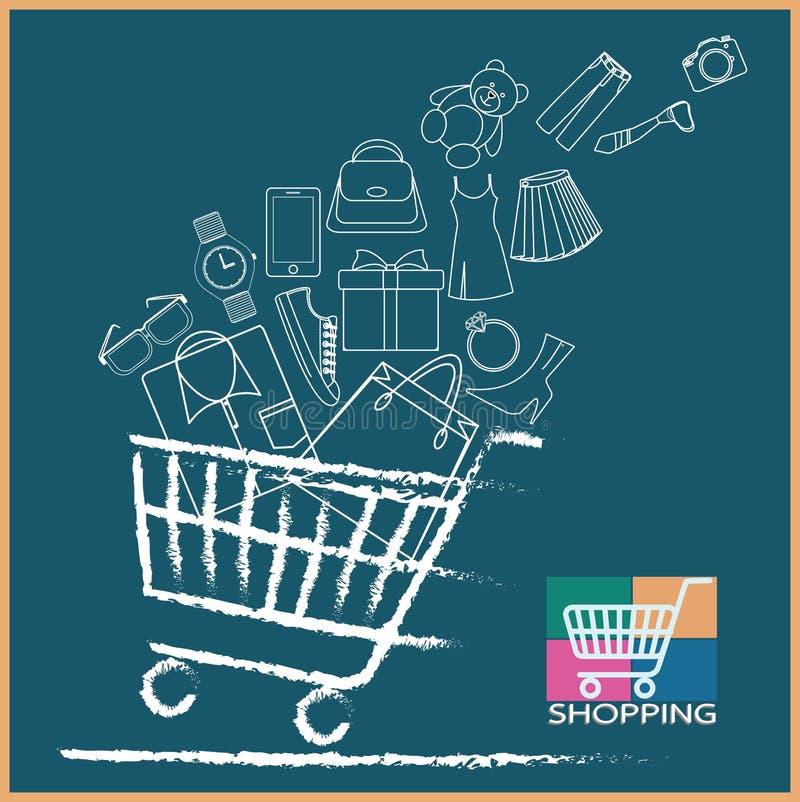 Wózek na zakupy folująca rozmaitość produkty zdjęcia stock