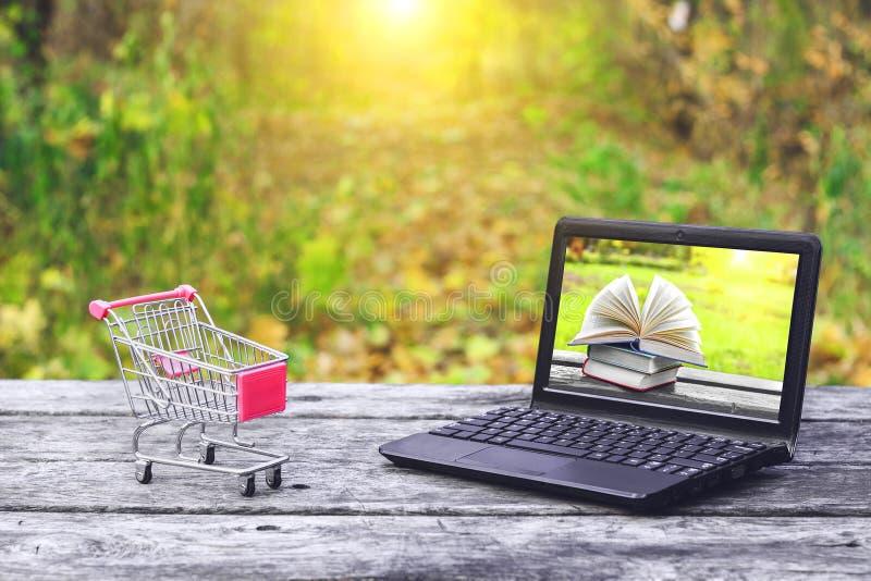 Wózek na zakupy i laptop z książkami na ekranie na starym drewnianym stole przy natury tłem Popiera szkoła, edukacja obrazy stock