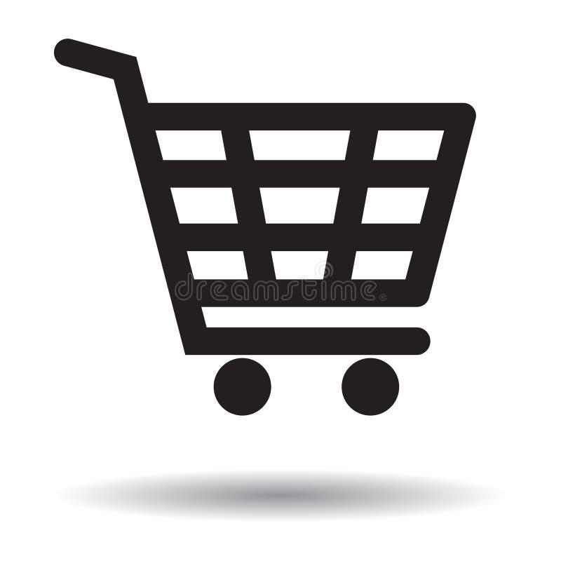 Wózek na zakupy ikona czarny i biały ilustracji