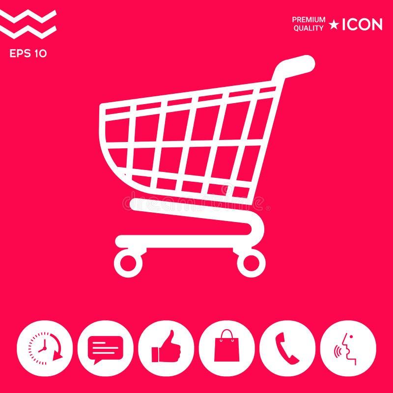 Wózek na zakupy ikona, zakupy kosza projekt, tramwaj ikona royalty ilustracja