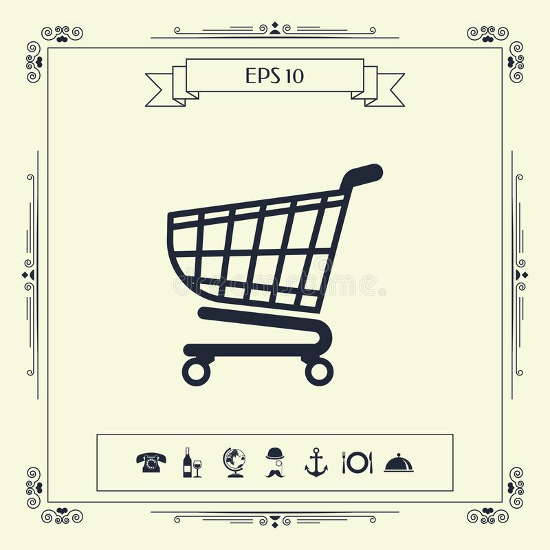 Wózek na zakupy ikona, zakupy kosza projekt, tramwaj ikona ilustracji