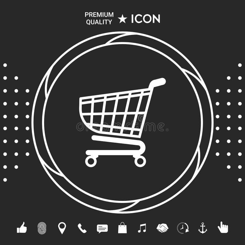 Wózek na zakupy ikona, zakupy kosza projekt, tramwaj ikona Graficzni elementy dla twój designt ilustracji