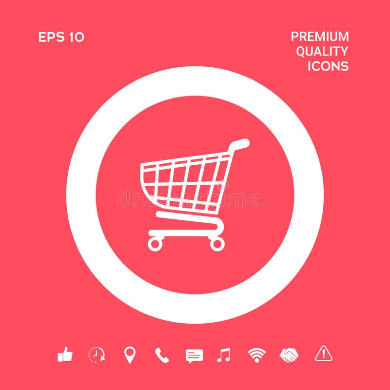 Wózek na zakupy ikona, zakupy kosza projekt, tramwaj ikona Graficzni elementy dla twój projekta ilustracji