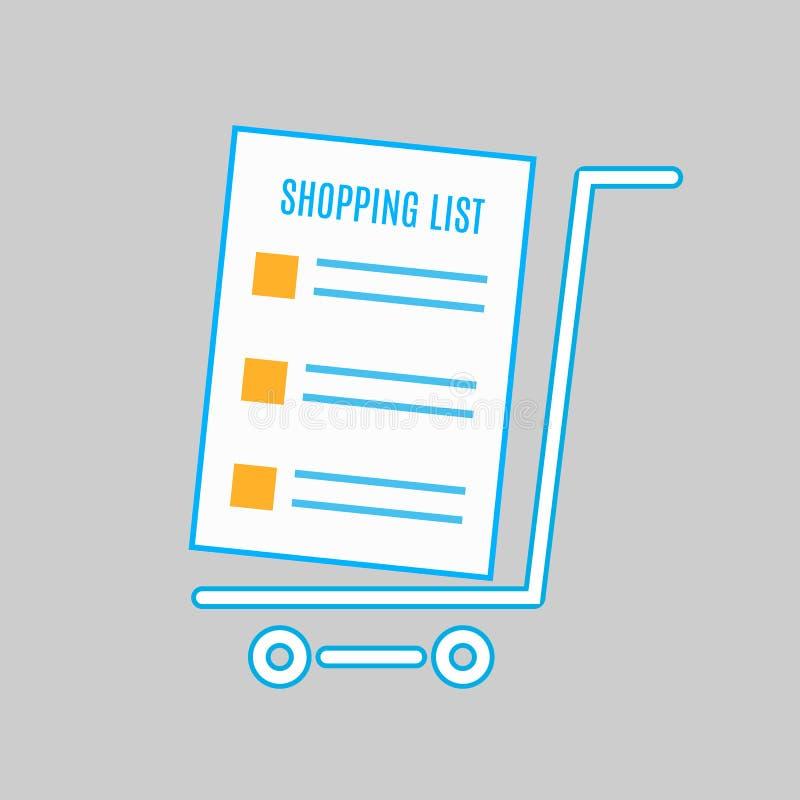 Wózek Na Zakupy ikona, płaski projekt Pusty wózek na zakupy z pustą lista zakupów wektoru ilustracją ilustracji
