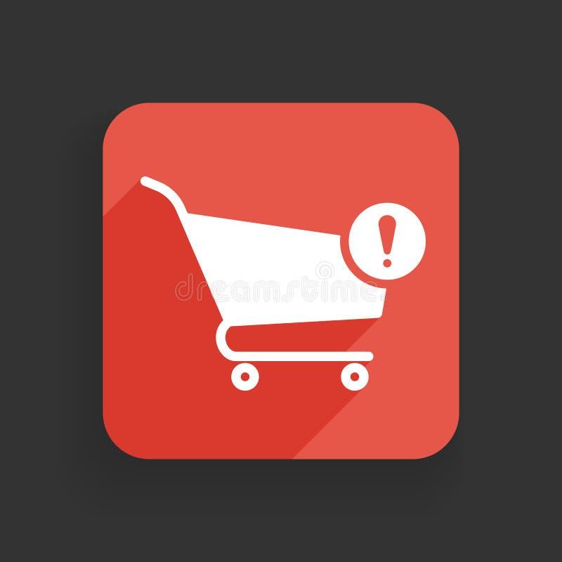 Wózek na zakupy ikona z okrzyk oceną Wózek na zakupy ikona i ostrzeżenie, błąd, alarm, niebezpieczeństwo symbol royalty ilustracja