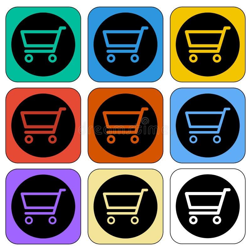Wózek Na Zakupy ikony Dziewięć colour różnic ilustracja wektor