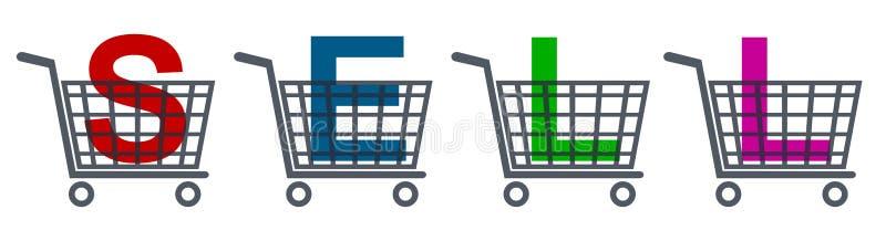 Wózek na zakupy ikony, setu sklepu fura z bubla sloganem ilustracji