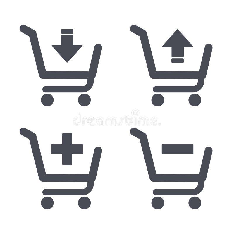 Wózek na zakupy ikony, setu sklepu fury guziki royalty ilustracja