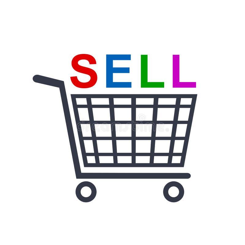 Wózek na zakupy ikony, sklepowa fura z bubla sloganem - wektor royalty ilustracja