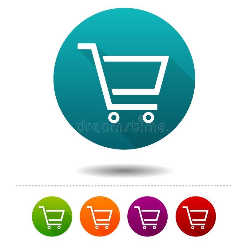 Wózek Na Zakupy ikony Sprzedaż znaki Zakupy symbol Wektorowi okrąg sieci guziki royalty ilustracja