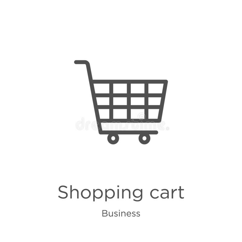 wózek na zakupy ikony wektor od biznesowej kolekcji Cienka kreskowa w?zka na zakupy konturu ikony wektoru ilustracja Kontur, cien royalty ilustracja