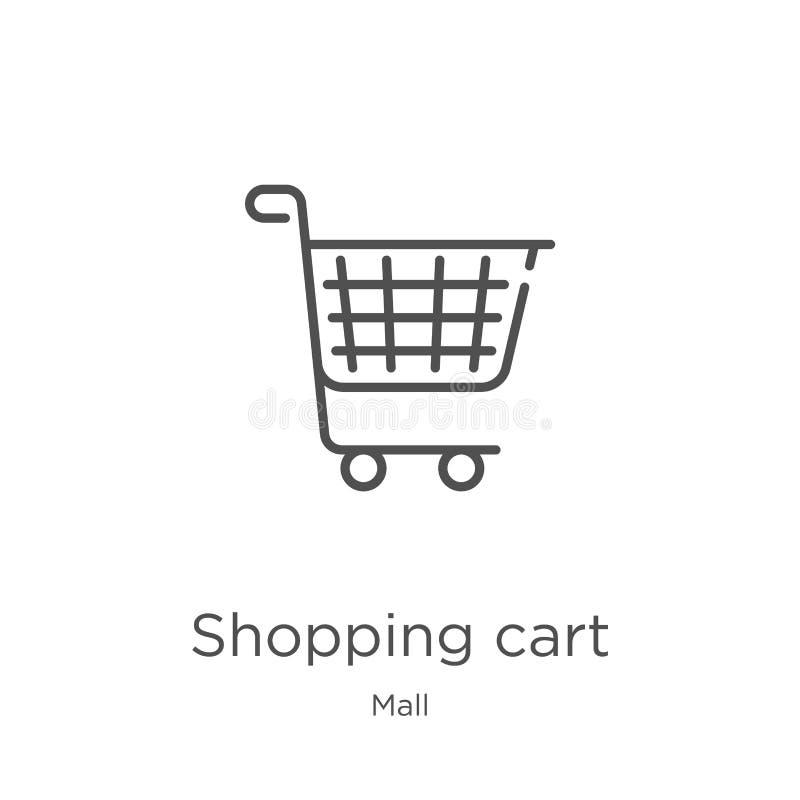 wózek na zakupy ikony wektor od centrum handlowe kolekcji Cienka kreskowa w?zka na zakupy konturu ikony wektoru ilustracja Kontur ilustracja wektor