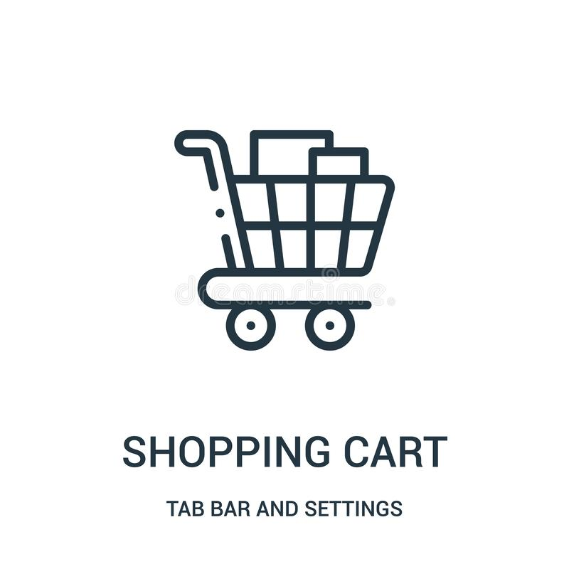 wózek na zakupy ikony wektor od zakładka baru i położenia inkasowi Cienka kreskowa wózka na zakupy konturu ikony wektoru ilustrac royalty ilustracja