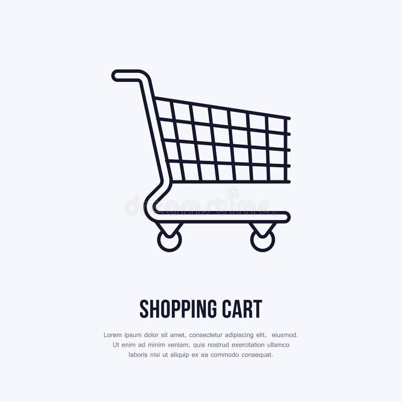 Wózek na zakupy mieszkania linii wektorowe ikony Sklep detaliczny dostawy, handlu sklep, supermarketa wyposażenia znak Handlowy t ilustracja wektor
