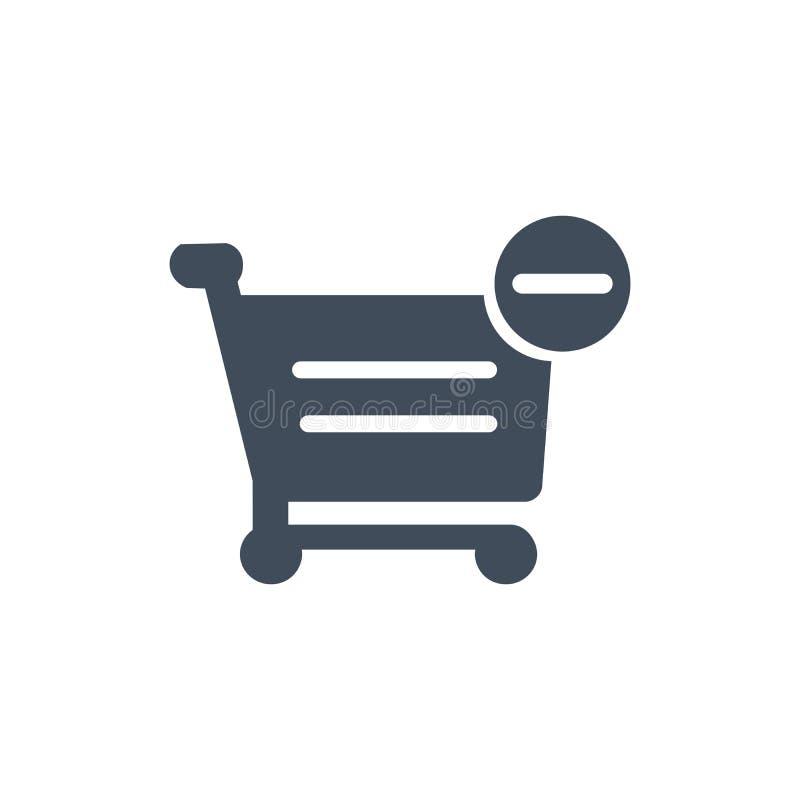 Wózek na zakupy minus z znaka wektoru ikoną wypełniający mieszkanie znak dla mobilnego pojęcia i sieć projekta Odwoływa zakup pro ilustracji