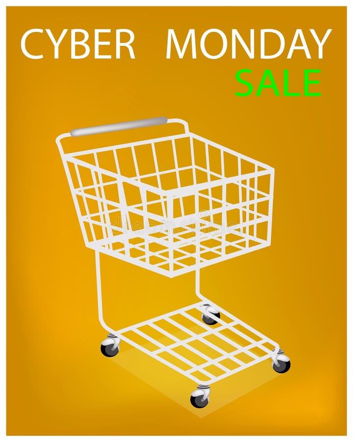 Wózek Na Zakupy na Cyber Poniedziałku sprzedaży promoci ilustracja wektor