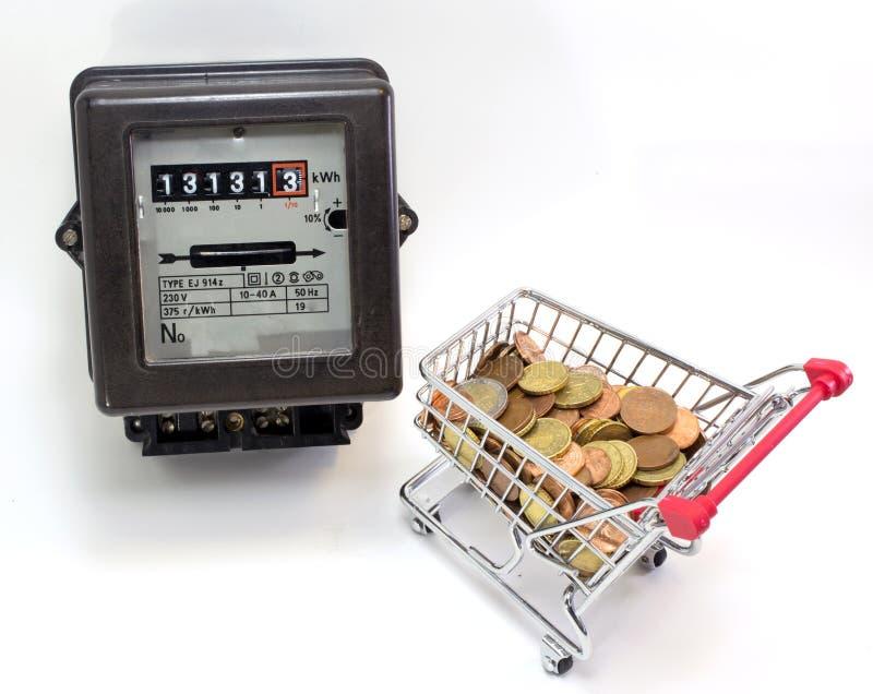 Wózek na zakupy pełno Europejskie waluty i elektryczność ja obrazy royalty free