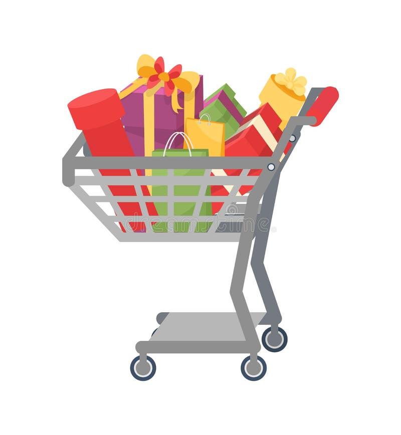 Wózek Na Zakupy Przedstawia prezentów pudełka, kolorów pakunki royalty ilustracja