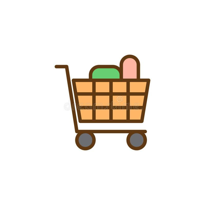 Wózek na zakupy sklepów spożywczych produkty wypełniający pełno zarysowywa ikonę ilustracji