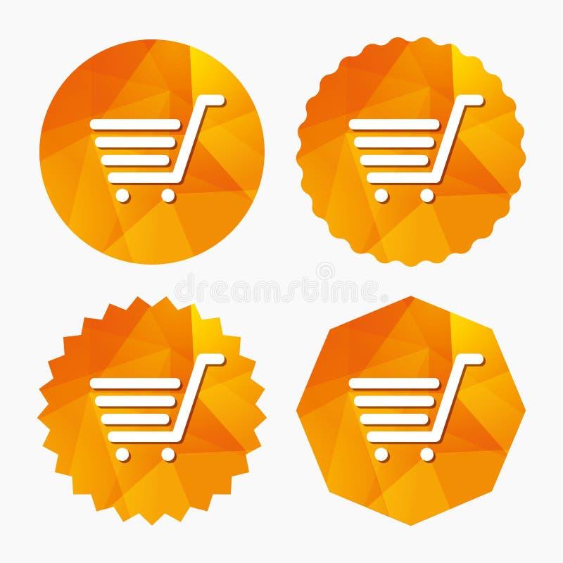 Wózek Na Zakupy szyldowa ikona Online kupienie guzik ilustracji