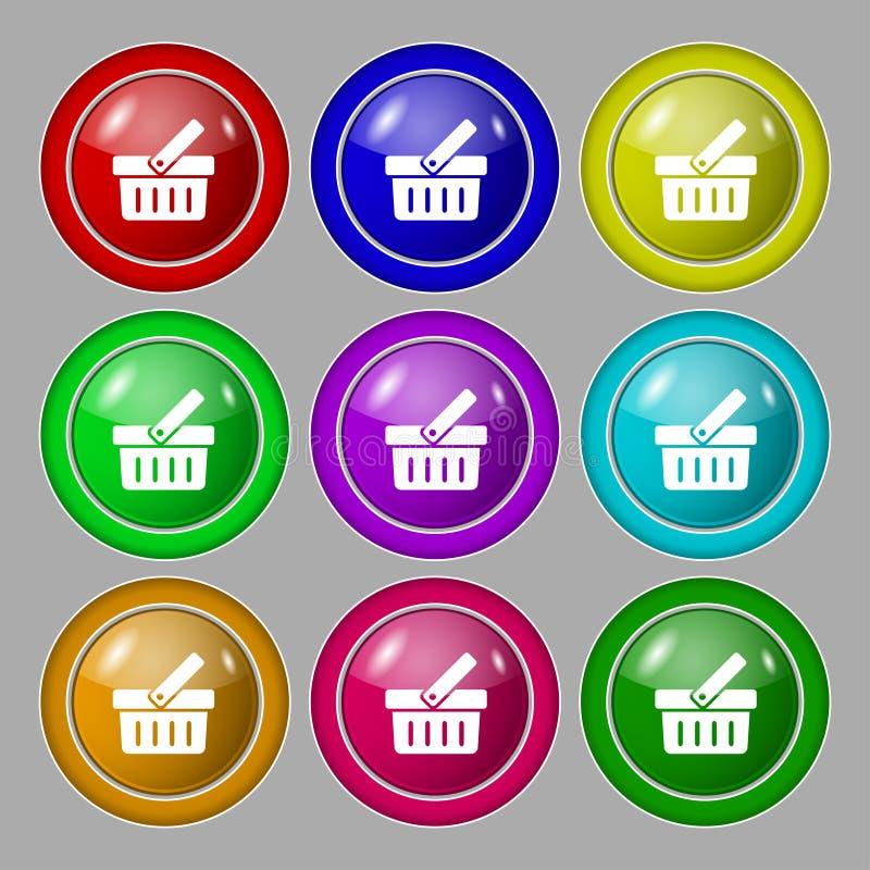 Wózek Na Zakupy szyldowa ikona Online kupienie guzik Set ilustracji