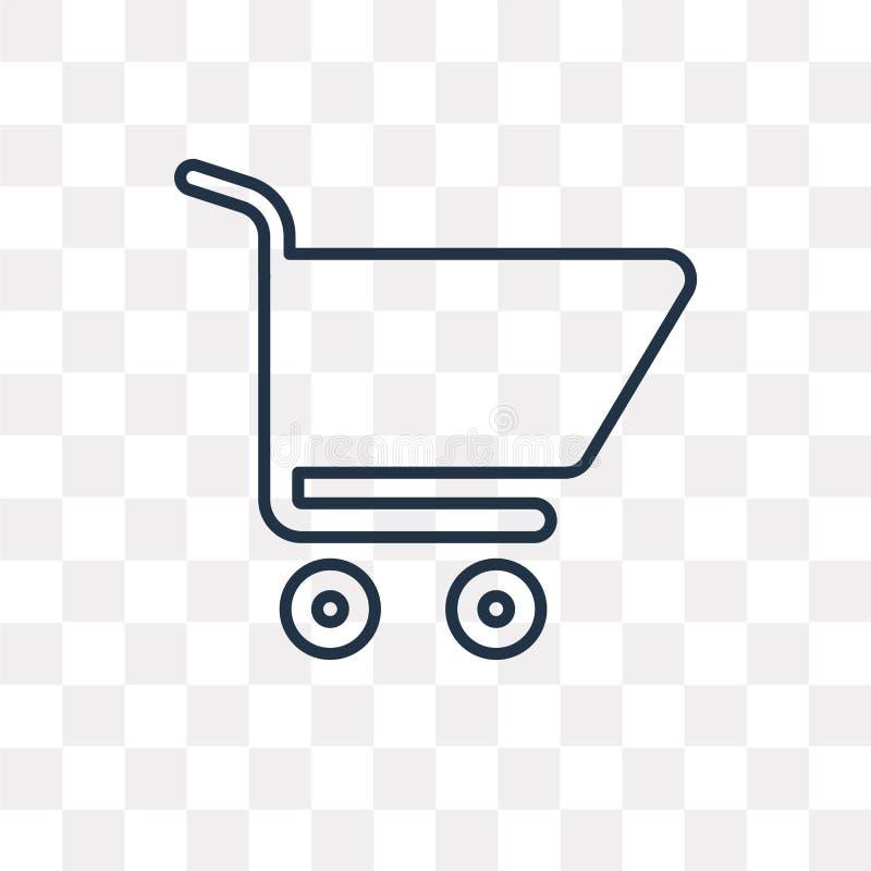 Wózek Na Zakupy wektorowa ikona odizolowywająca na przejrzystym tle, li ilustracji