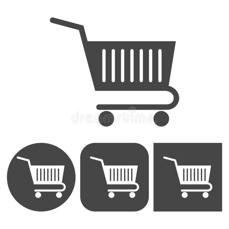 Wózek Na Zakupy - wektorowe ikony ustawiać royalty ilustracja